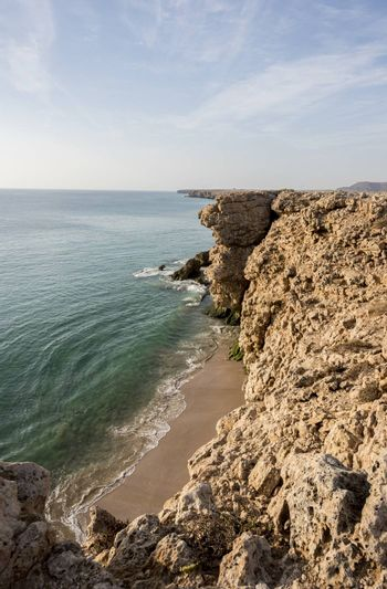 View over cliffs  and Gulf of Oman at the wild coast of Ras Al Jinz, Sultantae of Oman