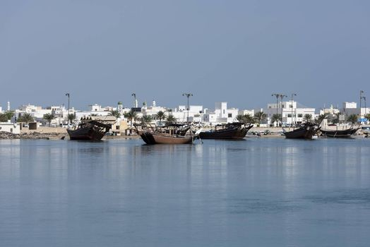View of the Boat Factory and a part of the city called  Ar Rashah, Sur, Sultanate of Oman