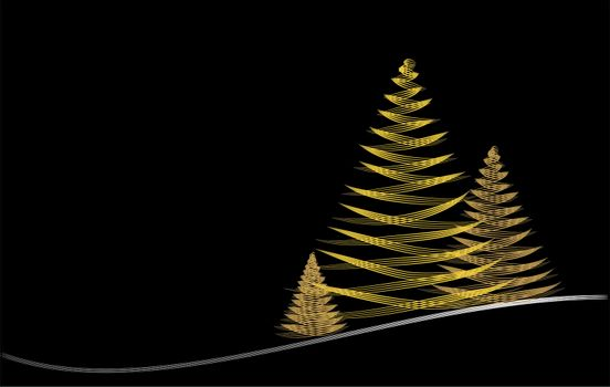 christmas card abstract graphic design on black background in gold and silver and copy space