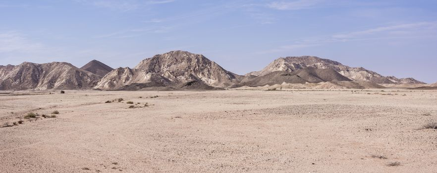 Panoramic view  of the desert and mountains in Ras Al Jinz area, Oman
