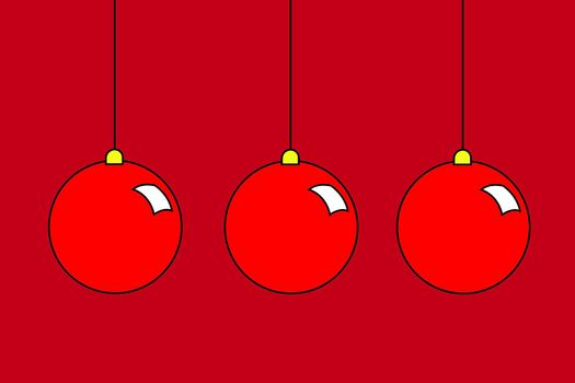 a set of christmas balls illustration with copy space