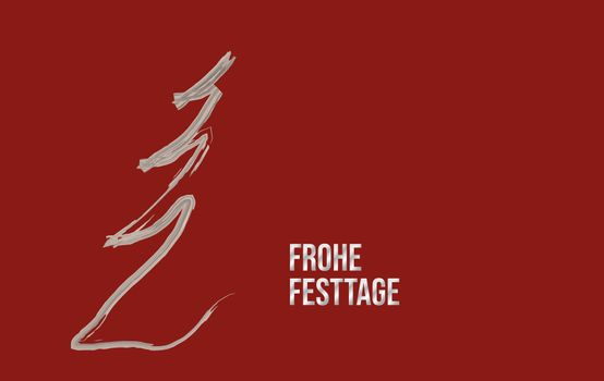 christmas card abstract graphic design on red background in silver and german text