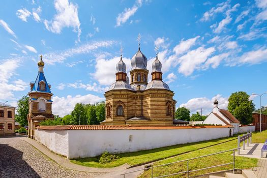 The Saint Nicholas The Miracle-worker's church and The Orthodox Church in The Holy Spirit Mens Monastery, Jekabpils, Latvia