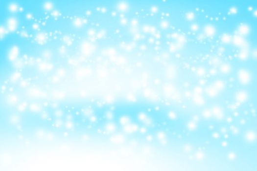 blue abstract background with snow flakes and copy space