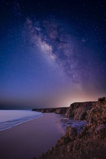 Milky Way above a wild beach and the ocean (here Gulf of Oman), Ras Al Jinz, Sultanate of Oman