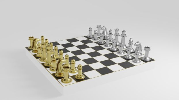 Golden and silver chess pieces on black and white board