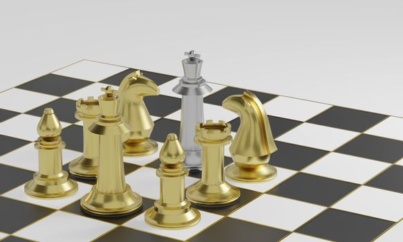 Golden chess pieces blockade silver on black and white board