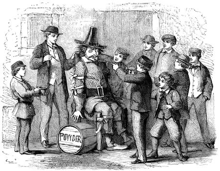 An engraved illustration image of boys with a guy Fawkes dummy p