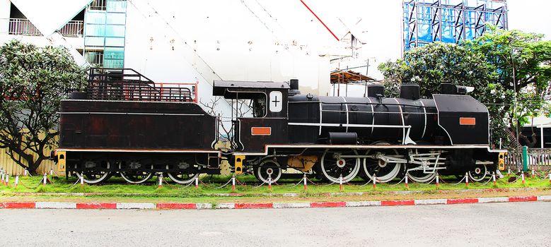 Vintage black steam train at Phnom Penh station, Cambodia 2