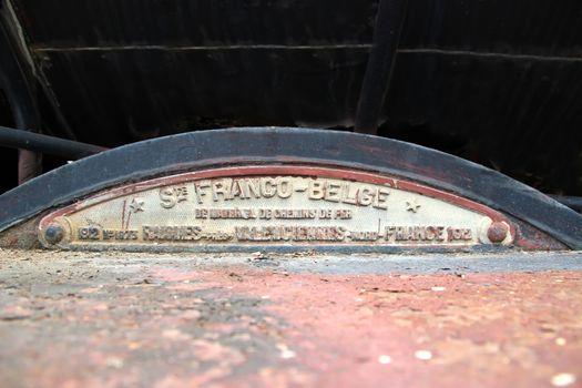 Protective box on an old black steam train Phnom Penh, Cambodia