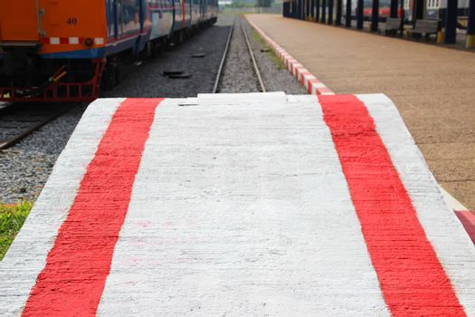 Concrete white platform for loading freight cars, Phnom Penh