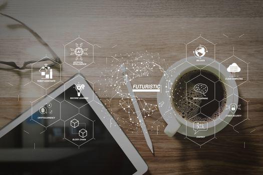Coffee cup and Digital table dock smart keyboard,eyeglasses,styl