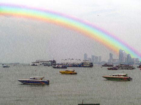 boat parking and rain drop in pattaya bay