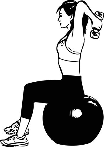 fit young woman in sportswear showing pilates exercises with ball vector illustration