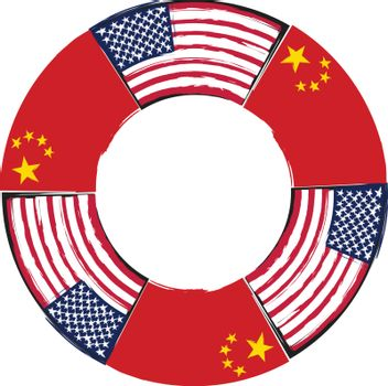 USA and China flags or banner illustration