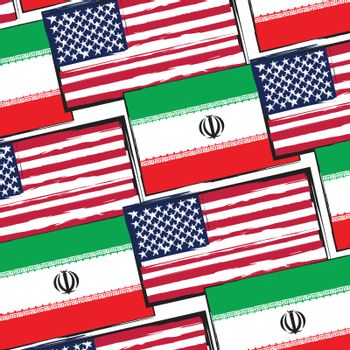 USA and IRAN flags or banner illustration