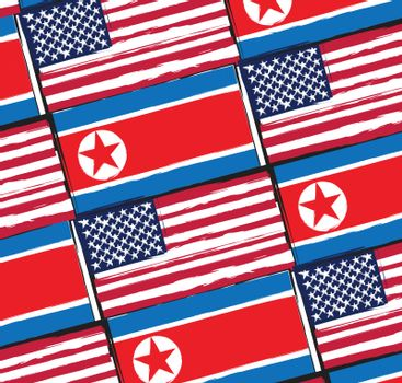USA and NORTH KOREA flags or banner illustration
