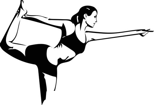 Woman practicing yoga, abstract sketch illustration