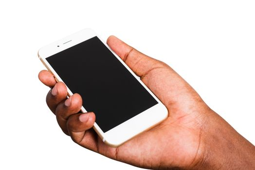 Closeup hand black man holding mockup white modern digital mobile smart phone blank screen on hand, studio shot isolated on white background