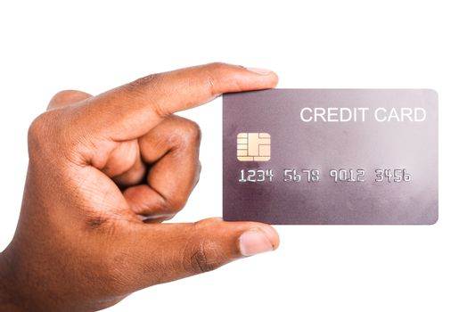 Closeup hand black man holding bank mockup money credit card on hand for payment transfer, studio shot isolated on white background