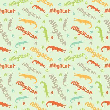 Alligator seamless pattern. Children colorful background.