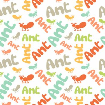 Ant seamless pattern. Children colorful background.