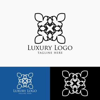 Luxury logo template. Vintage badge frame flourishes. Modern elegant logo design.