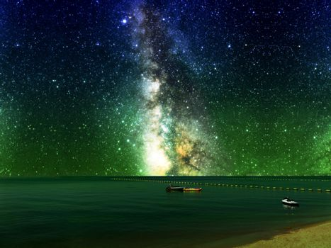 galaxy and boat and banana boat near barrier on sea