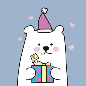 White polar bear and Christmas gift box cartoon vector illustration pastel tone