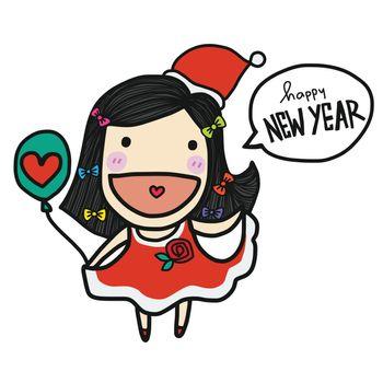 Cute Santa Claus girl say Happy New Year cartoon vector doodle style
