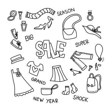 Fashion sale set vector illustration doodle style