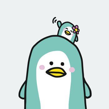 Cute couple penguin cartoon vector illustration