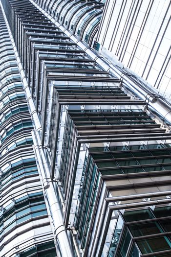 Abstract architectural skyscraper business background Kuala Lumpur, Malaysia City Centre KLCC Petronas Twin Towers