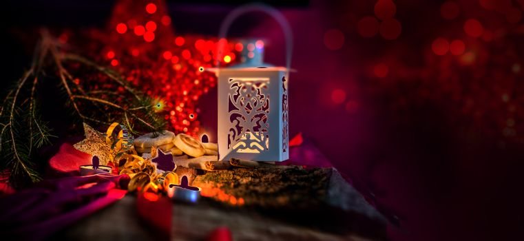 christmas backgrounds with low key lighting with candles and lantern