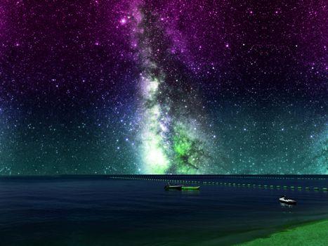 galaxy purple sky and banana boat near barrier on sea