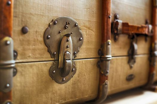old classic travel suitcases, close up view