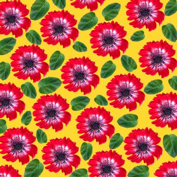 Floral pattern with red flowers and mint leaves on yellow background. Top view