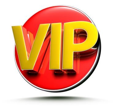 3D illustration Signs VIP isolated on a white background.(with Clipping Path).