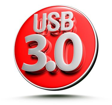 3d illustration USB 3.0 Red circle on white background.(With Clipping Path).