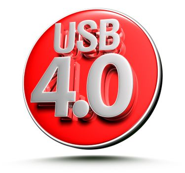 3d illustration USB 4.0 Red circle on white background.(With Clipping Path).