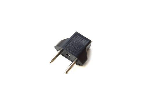 Black plug adapter on white background.