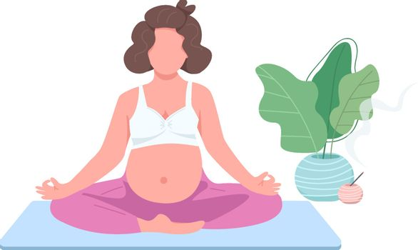 Meditating pregnant girl flat color vector faceless character. Expectant with belly in lotus pose. Prenatal yoga exercise isolated cartoon illustration for web graphic design and animation