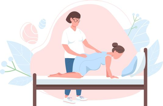 Obstetrician with woman flat color vector faceless character. Alternative birth professional support. Pregnancy help isolated cartoon illustration for web graphic design and animation