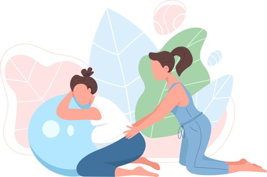 Coach with pregnant woman flat color vector faceless character. Prenatal exercise. Girl with aerobics ball. Pregnancy fitness isolated cartoon illustration for web graphic design and animation
