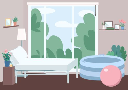 Room for home childbirth flat color vector illustration