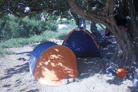 Camping tents kserokampos beach creta island covid-19 holidays high quality prints