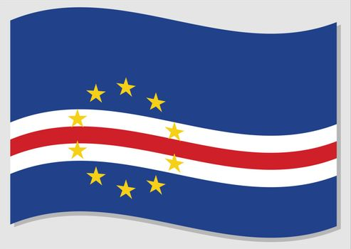 Waving flag of Cape Verde vector graphic. Waving Cape Verdean flag illustration. Cape Verde country flag wavin in the wind is a symbol of freedom and independence.