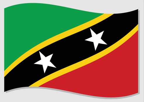 Waving flag of Saint Kitts and Nevis vector graphic. Waving Saint Christopher and Nevis flag illustration. Saint Kitts and Nevis country flag wavin in the wind is a symbol of freedom and independence.