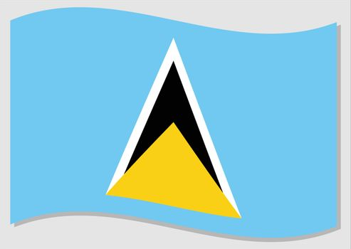 Waving flag of Saint Lucia vector graphic. Waving Saint Lucian flag illustration. Saint Lucia country flag wavin in the wind is a symbol of freedom and independence.