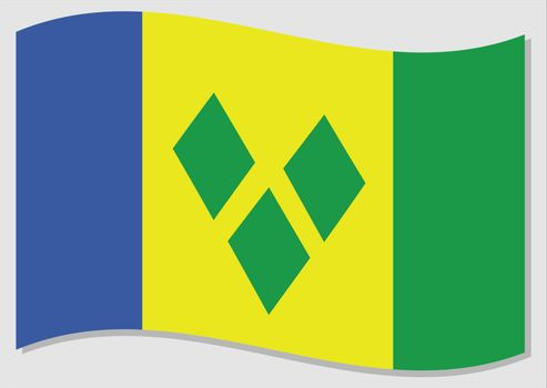 Waving flag of Saint Vincent and the Grenadines vector graphic. Waving Vincentian flag illustration. Saint Vincent and the Grenadines country flag wavin in the wind is a symbol of freedom and independence.